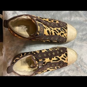 UGG leopard print with shearling inside sneakers